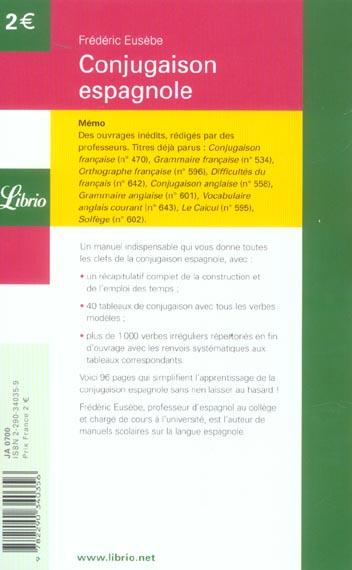 Conjugaison Espagnole Frederic Eusebe J Ai Lu Poche Place Des Libraires