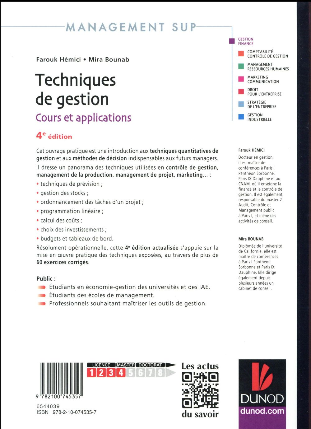techniques de gestion ; cours et applications (4e édition)