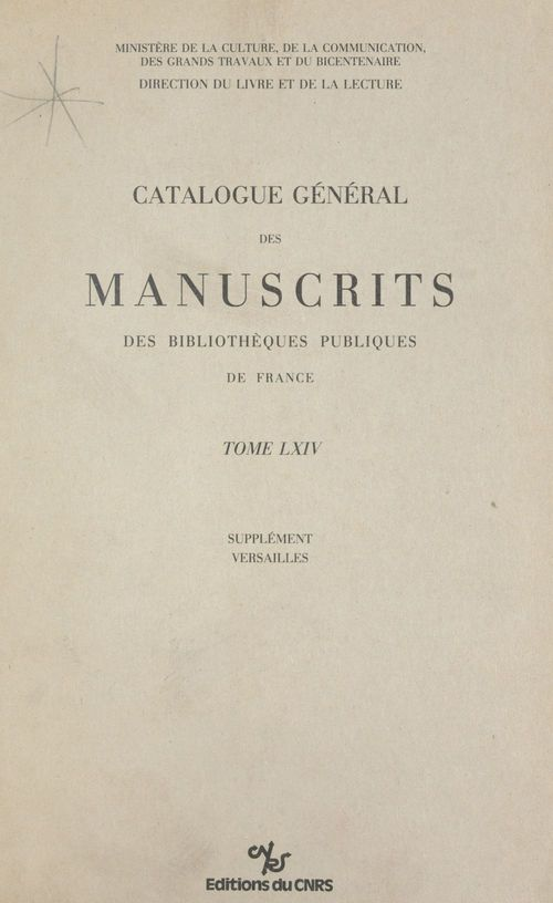 Catalogue general des manuscrits versailles