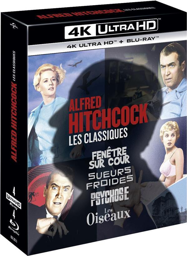 Alfred Hitchcock, les classiques - Coffret : Fenêtre sur cour + Sueurs froides + Psychose + Les Oiseaux