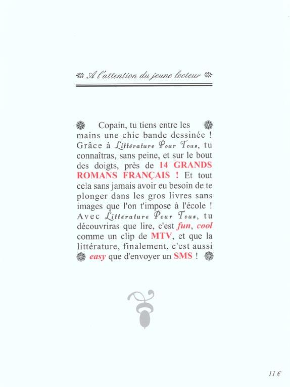 Litterature pour tous. synthese, vulgarisation et adaptation en bande dessinee des grands romans fr