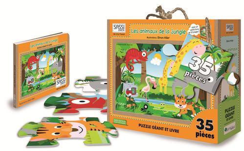 Les Animaux De La Jungle ; Puzzle Geant Et Livre