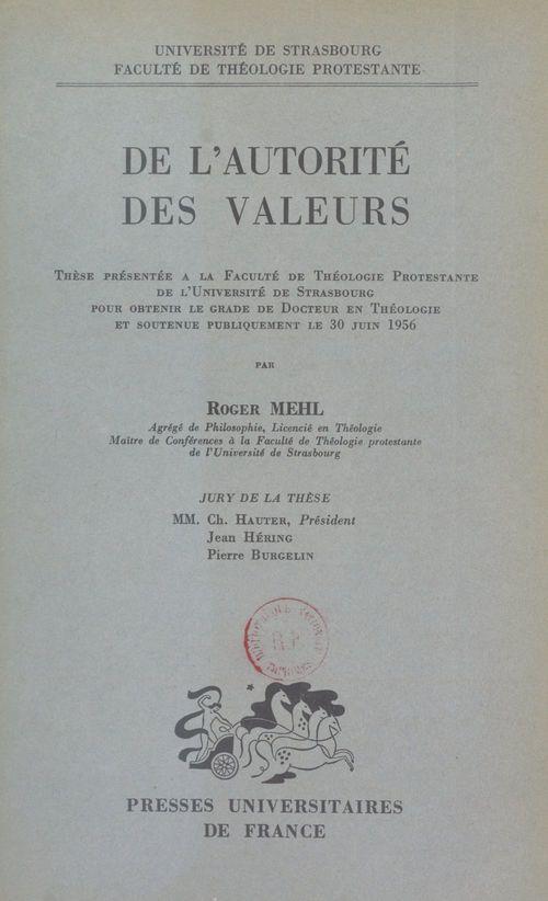 De l'autorité des valeurs