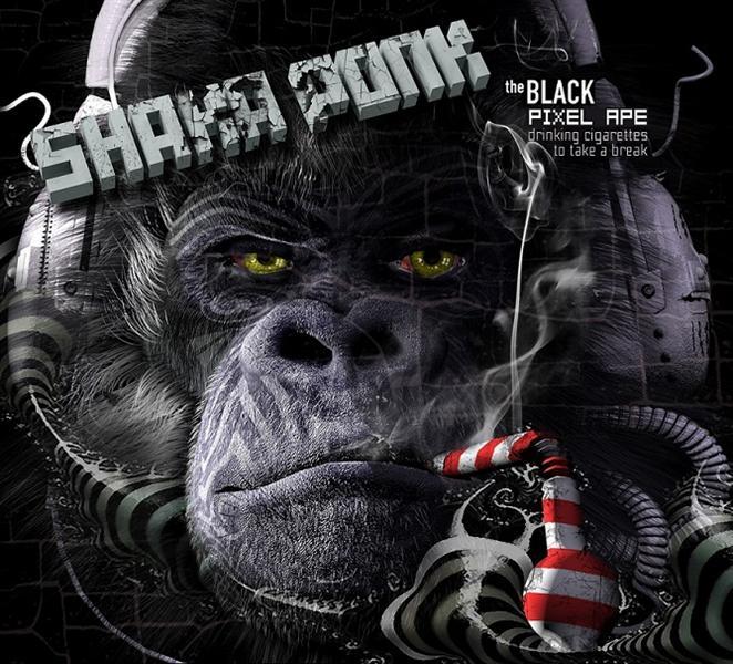 the black pixel ape (drinking cigarettes to take a break)