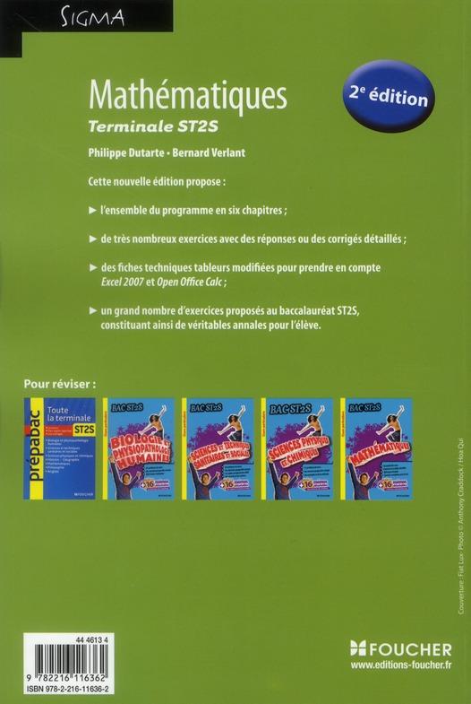 SIGMA ; mathématiques ; terminale ST2S (édition 2011)