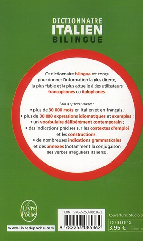 Dictionnaire Italien Francais Francais Italien Garzanti Librairie Generale Francaise Poche Le Hall Du Livre Nancy