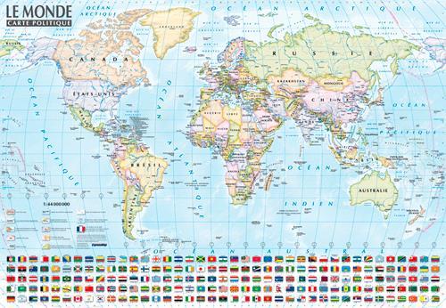 Carte du monde : politique et physique ; carte mur