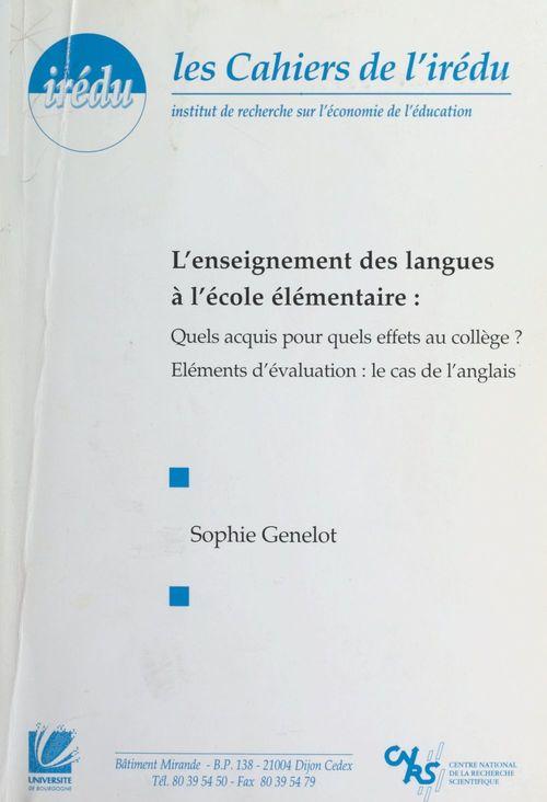 L'enseignement des langues à l'École élémentaire