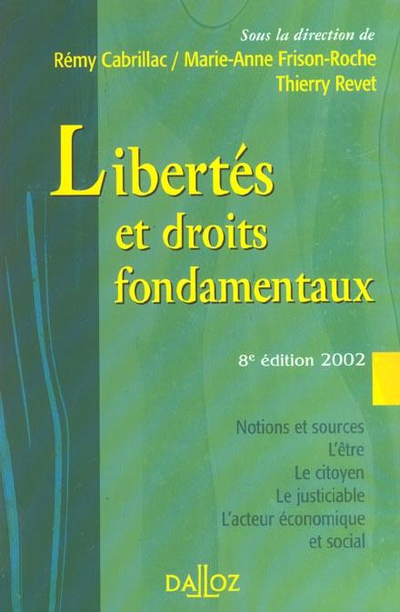 Libertes et droits fondamentaux ; cours exercices corriges ; 8e edition