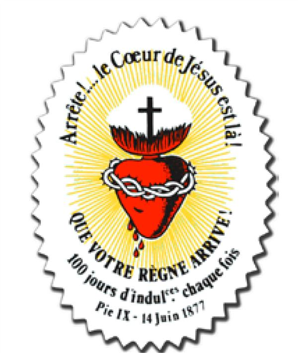AUTOCOLLANT SAUVEGARDE DU SACRE-COEUR  -  ARRETE!... LE COEUR DE JESUS EST LA