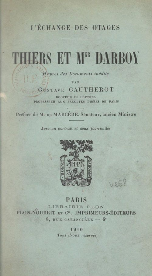 L'échange des otages, Thiers et Mgr Darboy