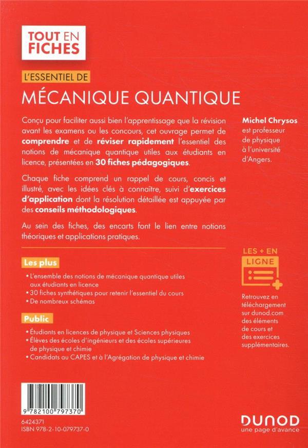 L'essentiel de mécanique quantique ; licence