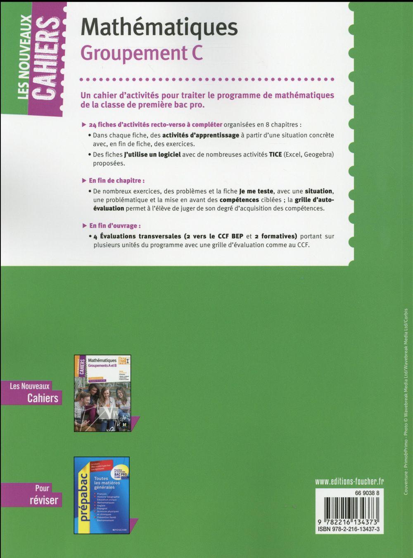 Les nouveaux cahiers ; mathématiques ; 1re BAC pro