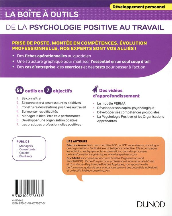 La Boite A Outils De La Psychologie Positive Au Travail Beatrice Arnaud Eric Mellet Dunod Grand Format La Librerit Carouge
