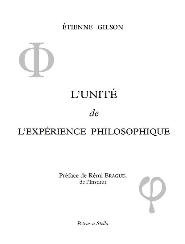 L'unité de l'expérience philosophique
