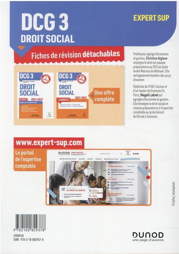 DCG 3 : droit social ; 28 fiches de révision pour réussir l'épreuve (édition 2021/2022)