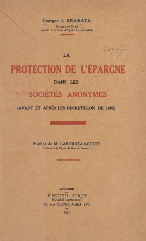 La protection de l'épargne dans les sociétés anonymes
