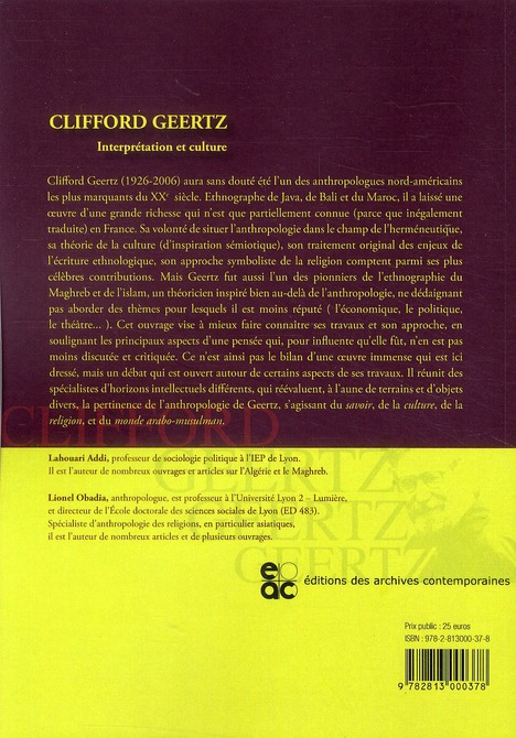 Clifford Geertz, interprétation et culture