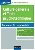 Vente EBooks : Culture générale et Tests psychotechniques - Concours Orthophoniste  - Benoît Priet - Bernard Myers