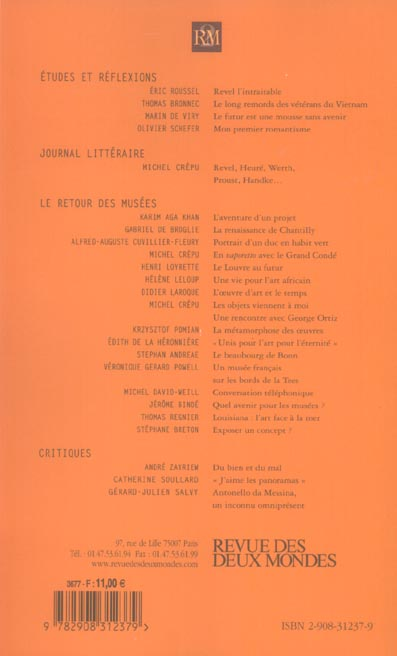 Revue des deux mondes t.6; le retour des musees