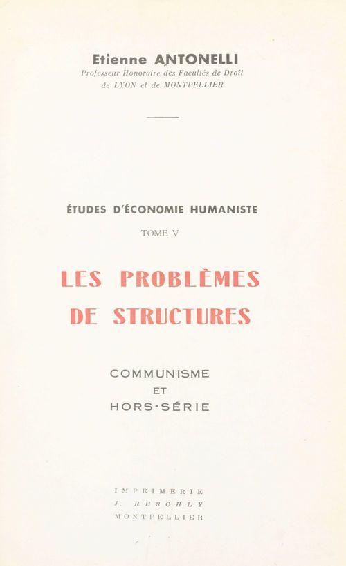 Études d'économie humaniste (5)