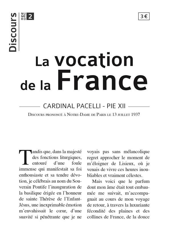 DISCOURS T.2  -  LA VOCATION DE LA FRANCE