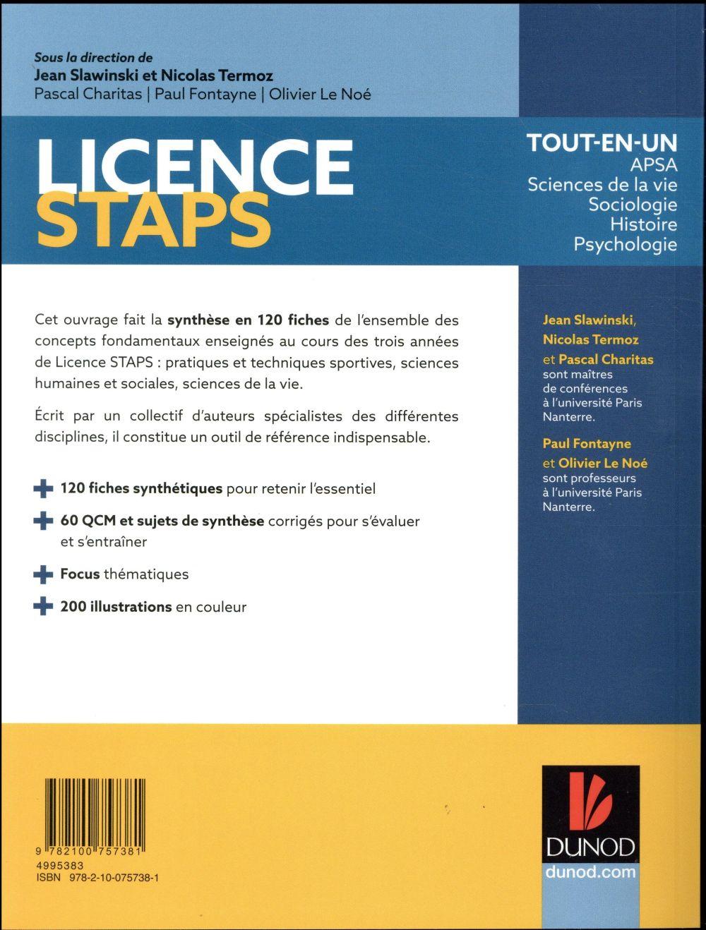 Licence STAPS ; 120 fiches de cours, QCM, sujets de synthèse