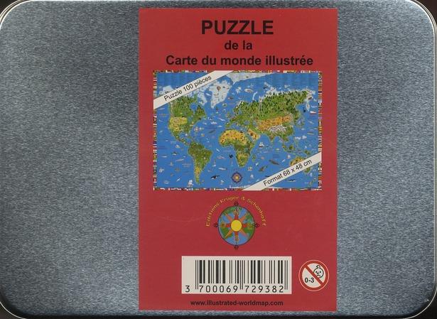 Carte du monde illustrée ; puzzle, 100 pièces