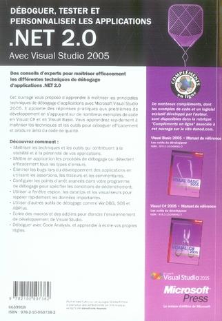 déboguer, tester et personnaliser les applications ; net 2.0 ; visual studio 2005