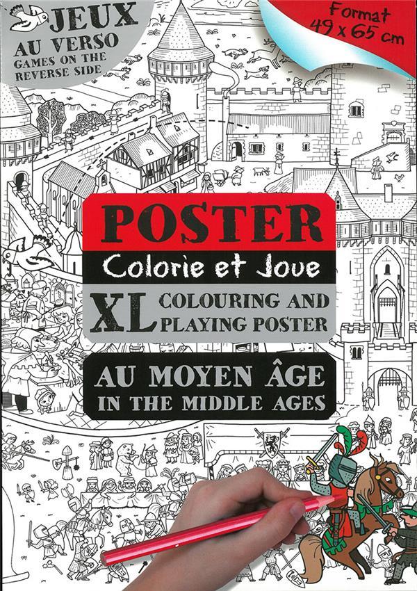 Poster colorie et joue au moyen-age