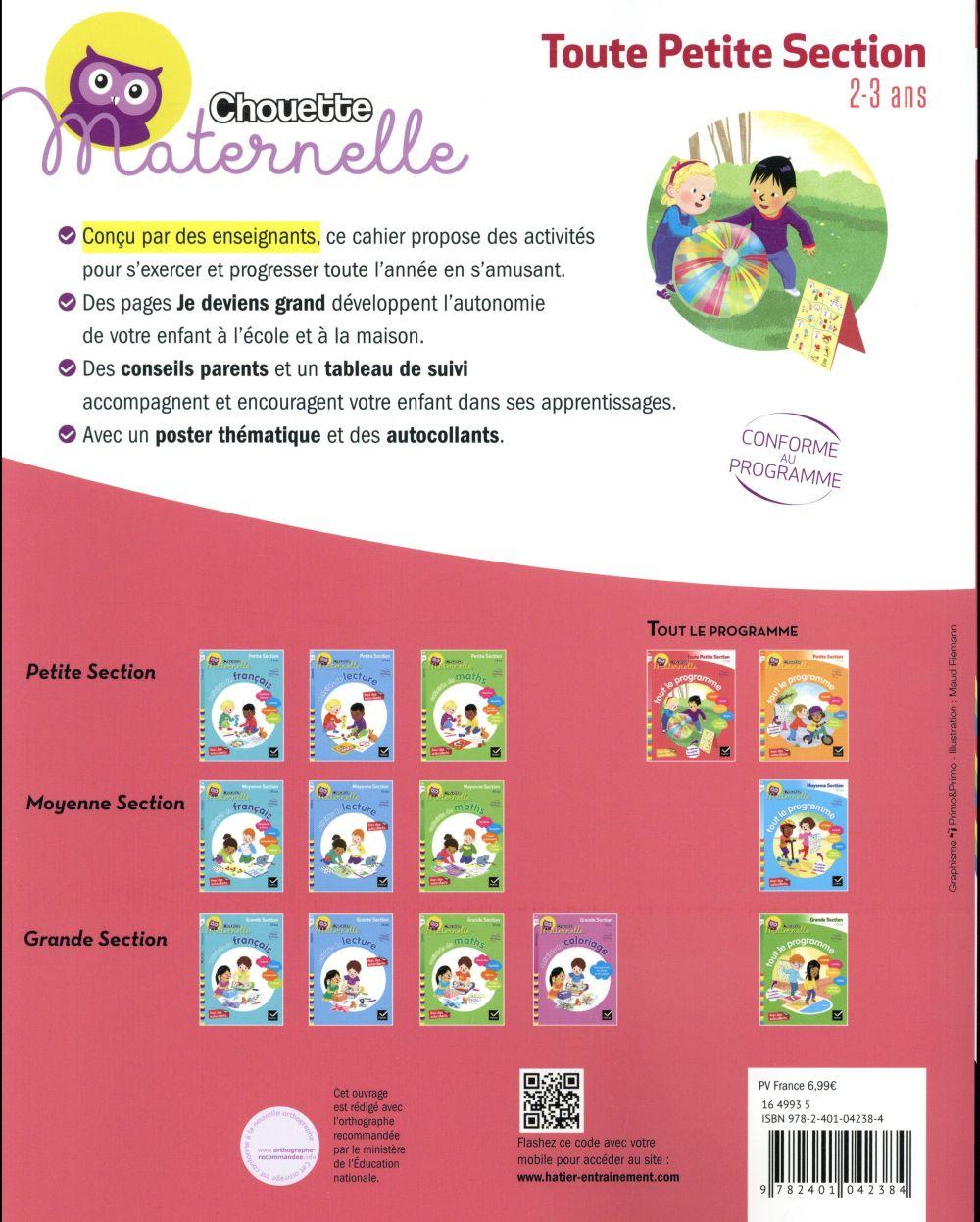 Chouette maternelle ; tout le programme ; toute petite section