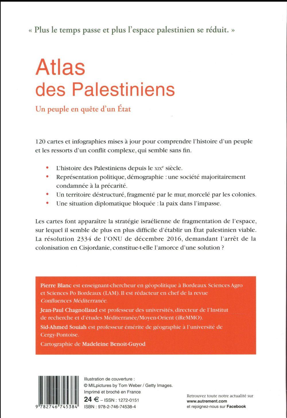 atlas des Palestiniens ; un peuple en quête d'un Etat (édition 2017)
