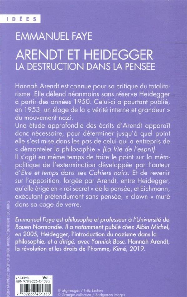 Arendt et Heidegger ; la destruction dans la pensée