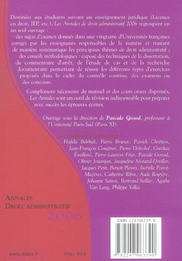 Annales droit administratif 2006. methodologie & sujets corriges (édition 2006)