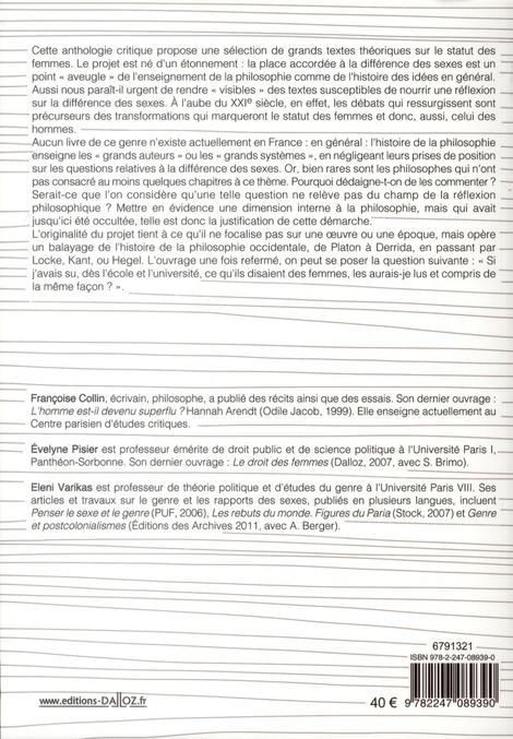 Les femmes de Platon à Derrida ; anthologie critique