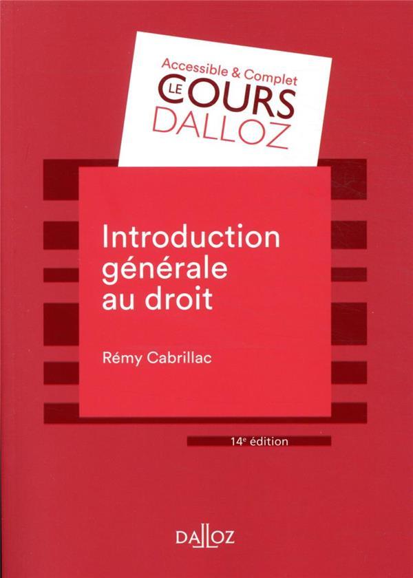 Introduction générale au droit (14e édition)