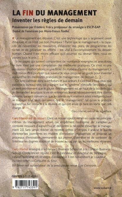 La Fin Du Management Gary Hamel Bill Breen Vuibert Grand Format Librairies Autrement