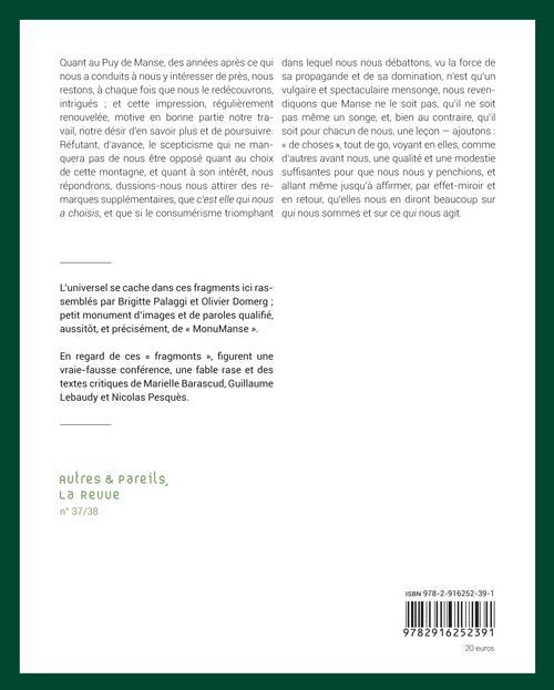 Autres & pareils, la revue t.37-38; fragments d'un mont-monde, le puy de manse