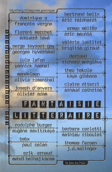 Fantaisie littéraire ; une lecture musicale de textes littéraires