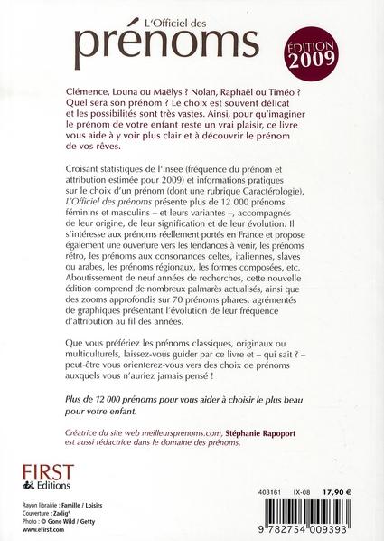 L'officiel des prénoms (édition 2009)