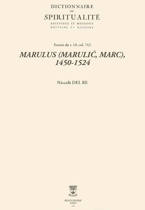 MARULUS (MARULIC, MARC), 1450-1524