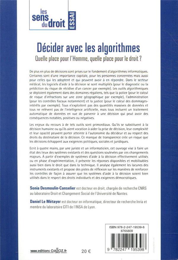 Décider avec les algorithmes ; quelle place pour l'Homme, quelle place pour le droit ?