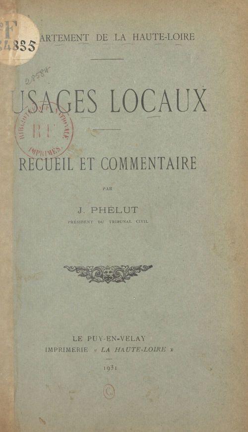Département de la Haute-Loire : usages locaux