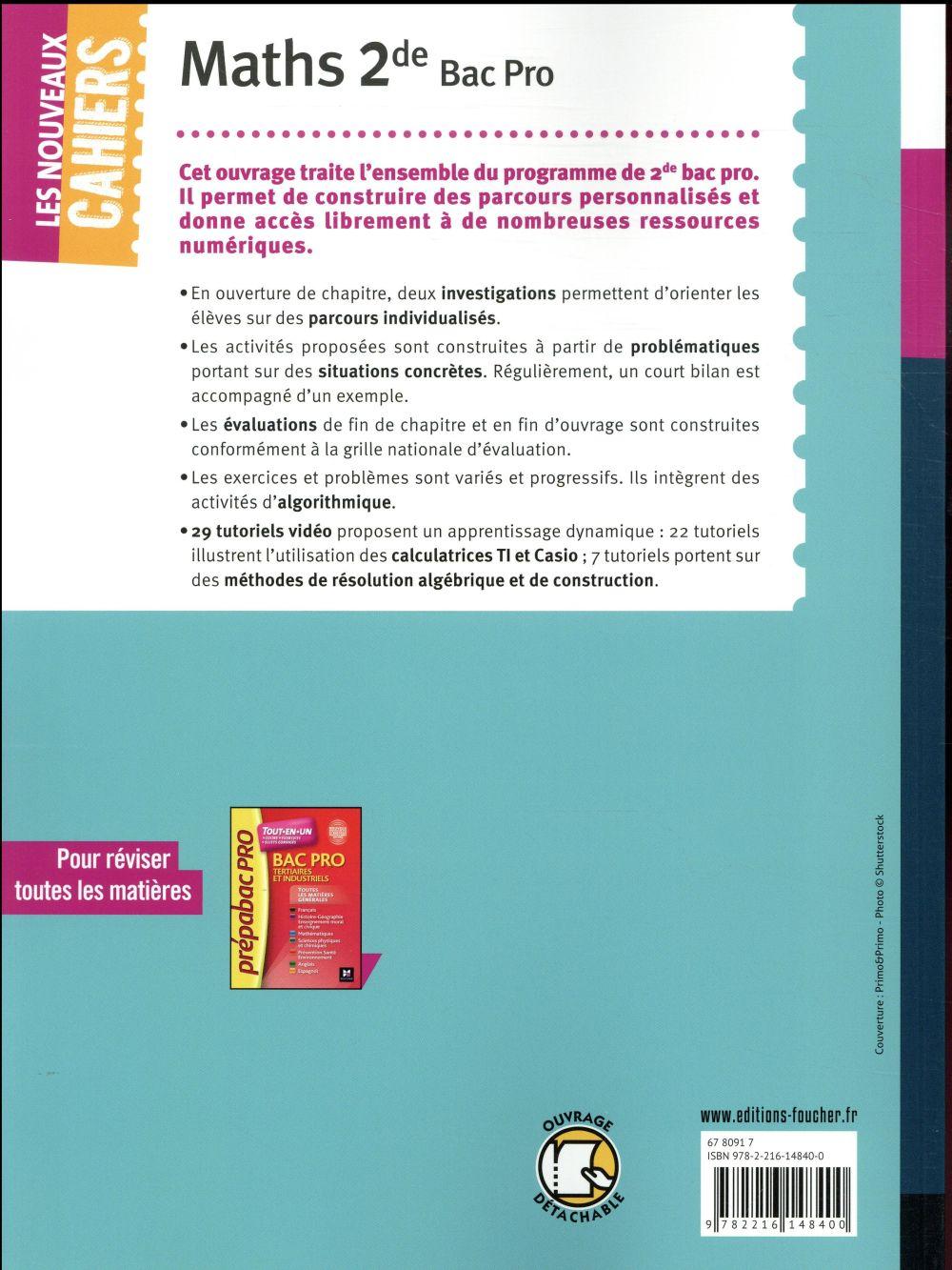 Les nouveaux cahiers ; mathématiques ; 2de bac pro ; manuel de l'élève (édition 2018)