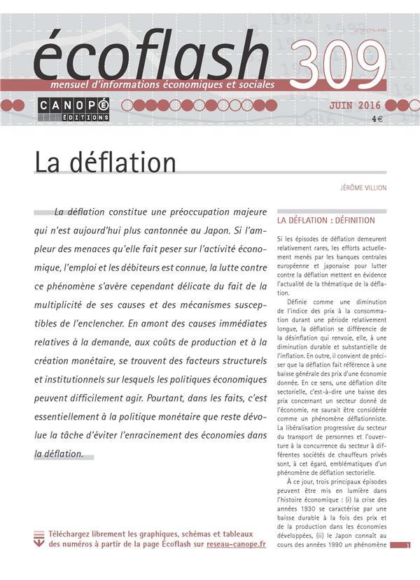 Ecoflash N 309  Juin 2016 La Deflation