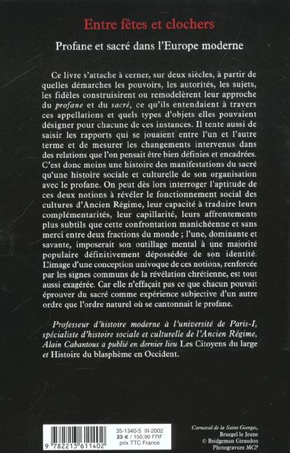 Entre fetes et clochers - profane et sacre dans l'europe moderne (xviie-xviiie siecle)