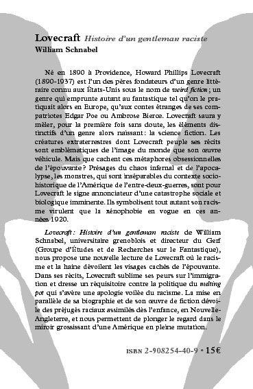 Lovecraft ; histoire d'un gentleman raciste