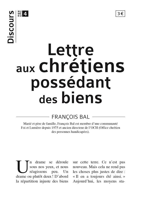 DISCOURS T.4  -  LETTRE AUX CHRETIENS POSSEDANT DES BIENS