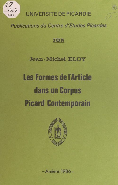 Les formes de l'article dans un corpus Picard contemporain