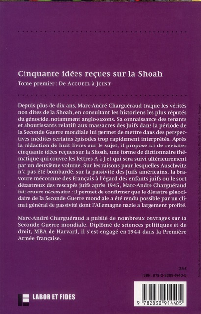 50 idées reçues sur la Shoah t.1 ; de accueil refusé à joint